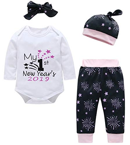 My 1st New Year's 2019 Outfits Newborn Baby Long Sleeve Romper+Firework Pants+Cap+Headband 4Pcs Set Size 3-6Months/Tag70 (White)