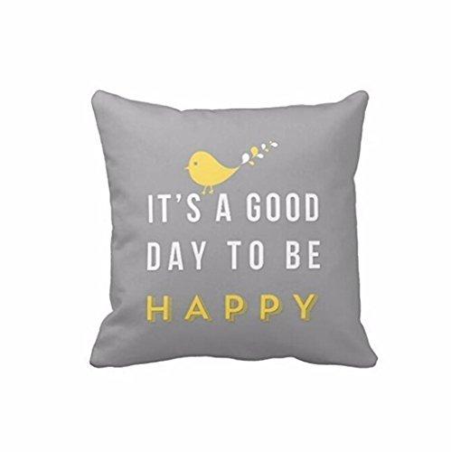 "FimKaul Yellow Bird Letter Printed Sofa Bed Throw 18"" x 18"""