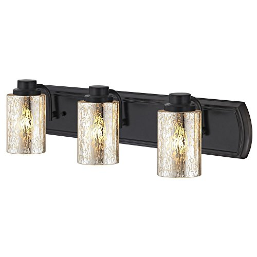 Industrial Mercury Glass 3-Light Bath Wall Light in Bronze ()