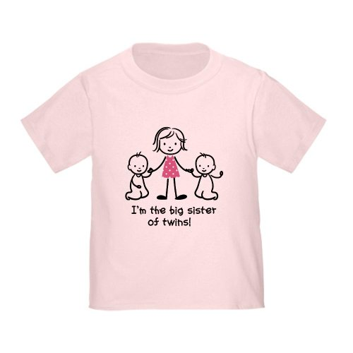 CafePress - Big Sister Of Twins T-Shirt - Cute Toddler T-Shirt, 100% (Big Sister Twins)