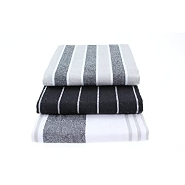 Classic Kitchen Collection Dish Towels - Heavy Duty - Super Absorbent - 100% Cotton - Professional Grade Dish Cloths - The Best Tea Towels - Pack of 3 (3, Black)