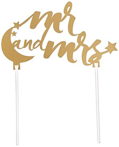 (Kate Aspen Under the Stars Mr. and Mrs. Cake Topper, Gold)