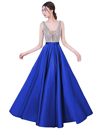 YuNuo Sparkly Crystal Beading Prom Dresses Long 2019 Sexy Open Back Party Ball Gown Scoop Bridesmaid Dresses S5 Royal Blue 6 (Best Long Gown 2019)