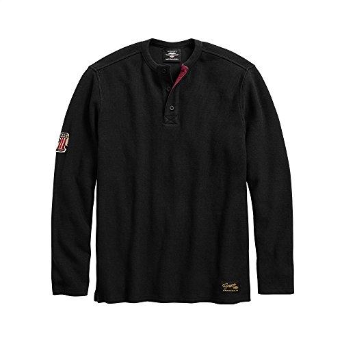 Davidson Shirt Embroidered Harley (Harley-Davidson Official Men's #1 Genuine Classics Henley, Black (XX-Large))