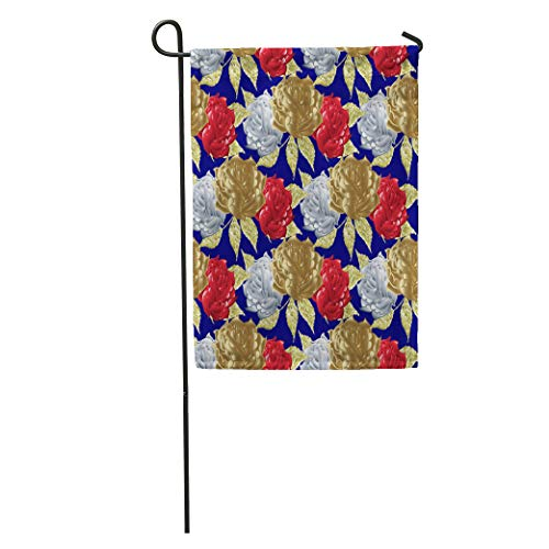 Semtomn Garden Flag Roses Blue Floral Elegant Flowery Ornaments Gold White Red 3D Home Yard House Decor Barnner Outdoor Stand 28x40 Inches Flag