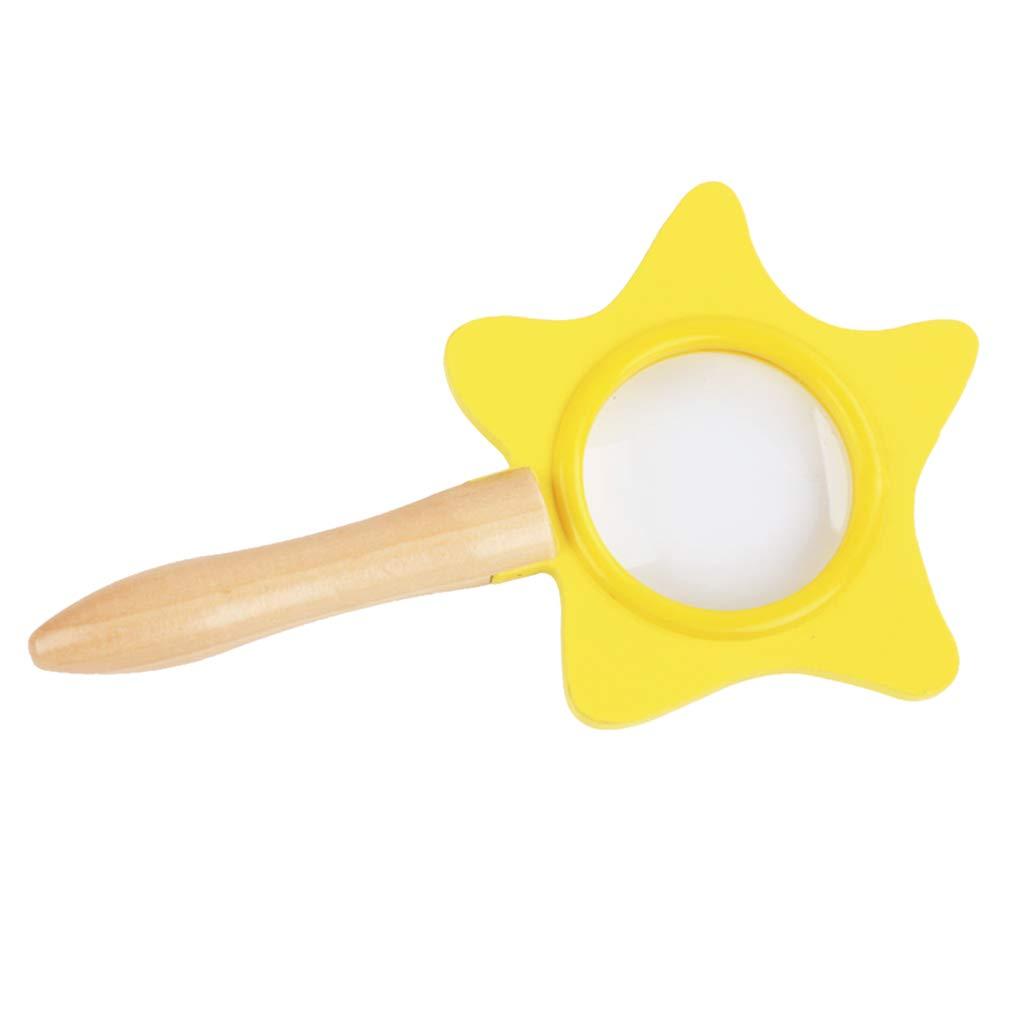 FLAMEER Kinderlupe Handlupe Handheld Lupe aus Holz f/ür Kinder Wissenschaft Lernspielzeug 19 x 11 x 2 cm
