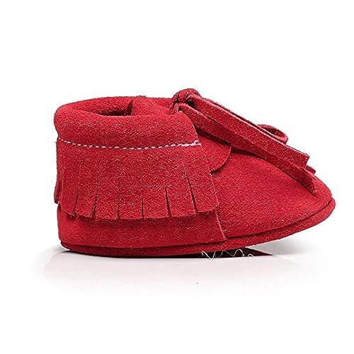 cceb8bc440290 Backbuy Confortables Chaussons Pour Bébé à Cuir Nubuck Lacets Up Chaussures  Premiers Pas Filles