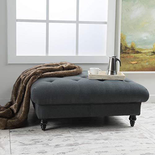 Molly Dark Grey Tufted Fabric - Grey Tufted Round Ottoman