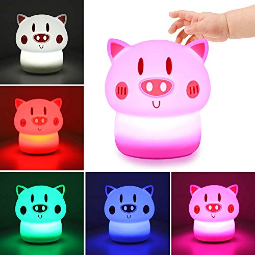 OUNUO Kids Night Light LED Tapping Light with Adorable Design USB Rechargeable Portable Night Lamp for Night Feeding Kids Fun - Pink