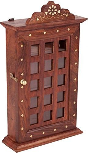 Wooden Cupboard - Khandekar (with device of K) Wooden Handmade Key Organizer Holder Storage Box - Wooden Key Cupboard with 6 Hooks and Decorative Chex Design - 13 Inch