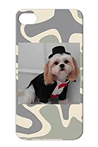 Animals Nature Dogs Silver TPU For Iphone 4s Dog Tux Protective Case