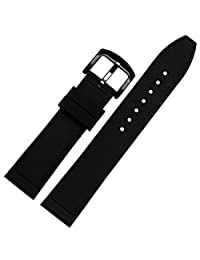 MSTRE GJ12 Silicone Couple Watch Band Soft Rubber Replacement (24mm, black)