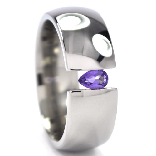 Customize Your 8 Titanium Tension Setting Ring w/ a Tear Drop - Titanium Settings Tension