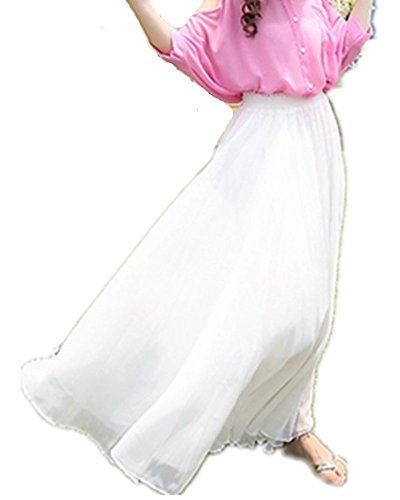 Emoyi Women's Vintage Pleated Long Chiffon Maxi Boho Beach Skirt Dress (White)