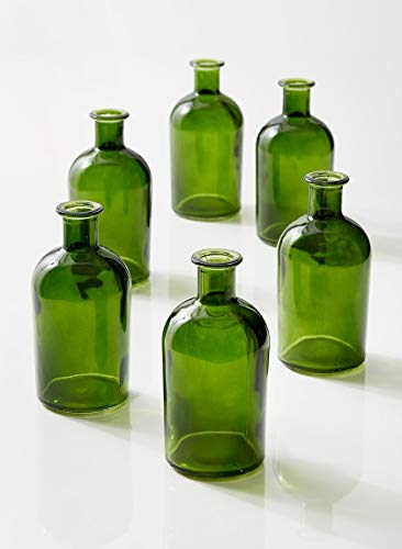 "Serene Spaces Living Dark Green Medicine Bottle Bud Vases – Semi-Transparent Glass Vases, 2.5"" Diameter, 5.25"" Tall – Set of 6 -"
