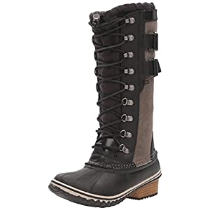 SOREL Women's Conquest Carly II Snow Boot, Black, Kettle, 6.5 B US