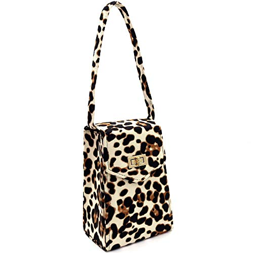 Faux Suede Leopard Print Tall Box Top-Handle Satchel Clutch