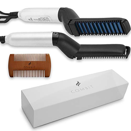 COMBIT Premium 2019 Upgraded Quality Electric Hair Comb For Men | Men´s Curly Hair Straightening Comb | Straightening Brush Heated | Hot Brush | Wooden pocket Comb -