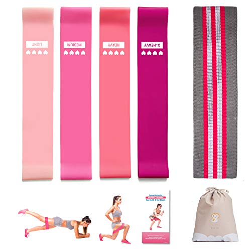 4+1 Exercise Bands Set, 1 Hip Resistance Bands for Legs and Butt + 4 Natural Latex Workout Bands with Carry Bag and Instruction Guide, Perfect for Physical Therapy, Stretching, Home Fitness (Pink) (Therapy Ultralight Mini)
