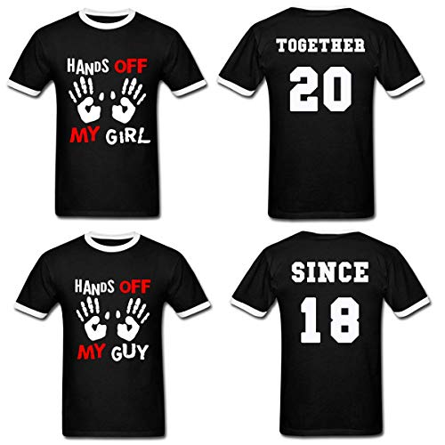 LAUKEXIN Hands Off My Girl | Guy Since Together Custom Anniversary Tees His and Her (Women L- Men L)