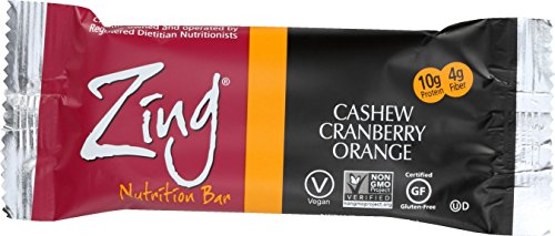 Zing Nutrition Bar, Cashew Cranberry Orange, 12 Count