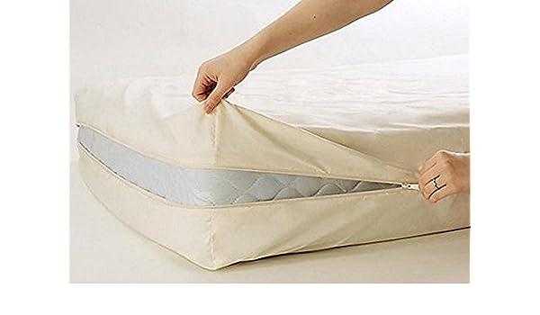 100% algodón Fleetwood algodón funda de colchón, doble tamaño, cremallera alrededor del colchón: Amazon.es: Hogar