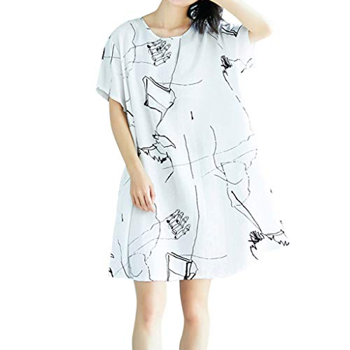 (Vintage Casual Cute Women Ethnic Style Loose Cotton Linen Summer Midi Dress White)