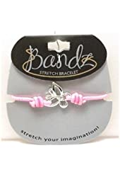 TOC Bandz Glass Set Butterfly 6 Inch Love Pink Stretch Bracelet.