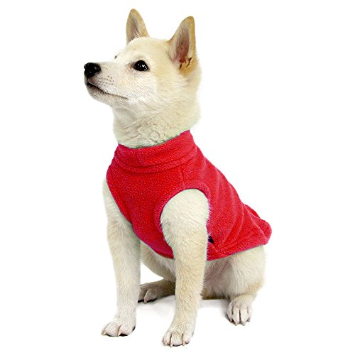 Gooby Stretch Fleece Pull Over Cold Weather Dog Vest, Red, Medium by Gooby