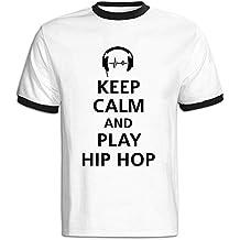 Men's Keep Calm And Play Hip Hop F1 Baseball Tee Shirt Black