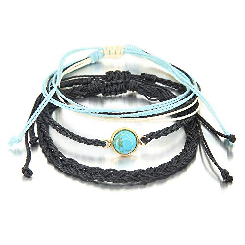 3 Pieces Turquoise Bracelet Braided Rope Bracelet Waterproof String Ocean Surfer Bracelet Colorful Beaded Boho Charms for Women Man