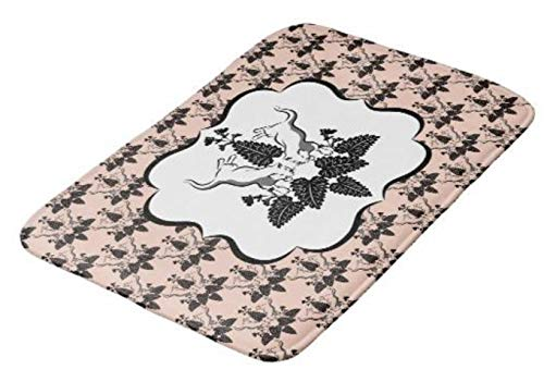 (Aomsnet Cats and Catnip Damask Look Bathroom Decor Mat, Shower Rug Mat Water Absorbent Fast Drying Kitchen, Bedroom, Hotel, Spa Tub.30 L X 18