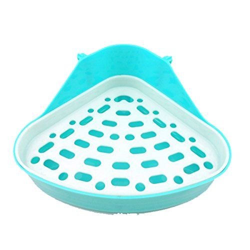 Triangle Potty Trainer Corner Litter Bedding Box Pet Pan Toilet for Small Animal/rabbit/guinea Pig/galesaur/hamster/ferret (Blue)