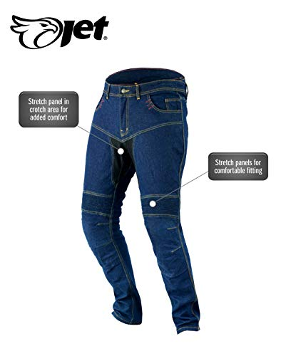 JET Pantalon Moto Hombre Jeans Kevlar Aramid Con Armadura TECH PRO (52 Corto/Cintura 36
