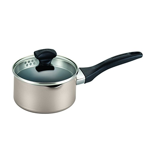 Farberware Dishwasher Safe Nonstick Aluminum 1-Quart Covered Straining Saucepan with Pour Spouts, Champagne