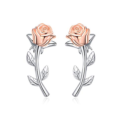 YFN Rose Ear Crawler Earrings Sterling Silver Climber Cuff Stud Earrings for Women, 2 Ways Wearing (Earrings)