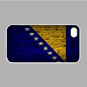 Bosnia And Herzegovina Flag Brick Wall iPhone 5 and iPhone 5s White Silcone Rubber Case - Fits iPhone 5 and iPhone 5s - Made of Silcone Rubber Providing Great Protection