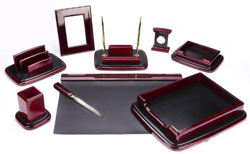 Majestic Goods Nine Piece Burgundy Oak Wood Desk Set by Majestic Goods