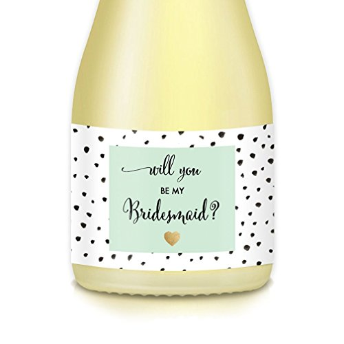 Wedding Party Proposal Set of 10 MINI CHAMPAGNE LABELS, Bride Asking Will You Be My Bridesmaid, Maid Matron of Honor? Engagement Bachelorette Party Gift Boxes, Bags Bridal Favors, 3.5