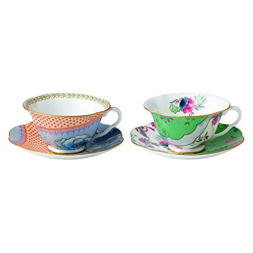 Wedgwood 40003931 Butterfly Bloom Tea Story Teacup and Saucer, Blue Peony and Posy, Set of 2