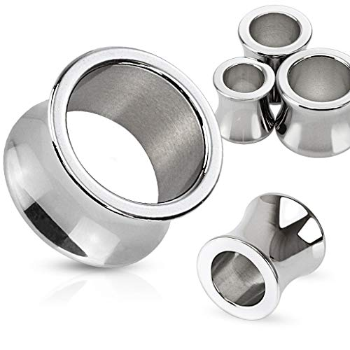 Surgical Steel Saddle Plugs - Forbidden Body Jewelry Pair of 0g (8mm) Hand Polished Surgical Steel Saddle Fit Tunnel Plugs