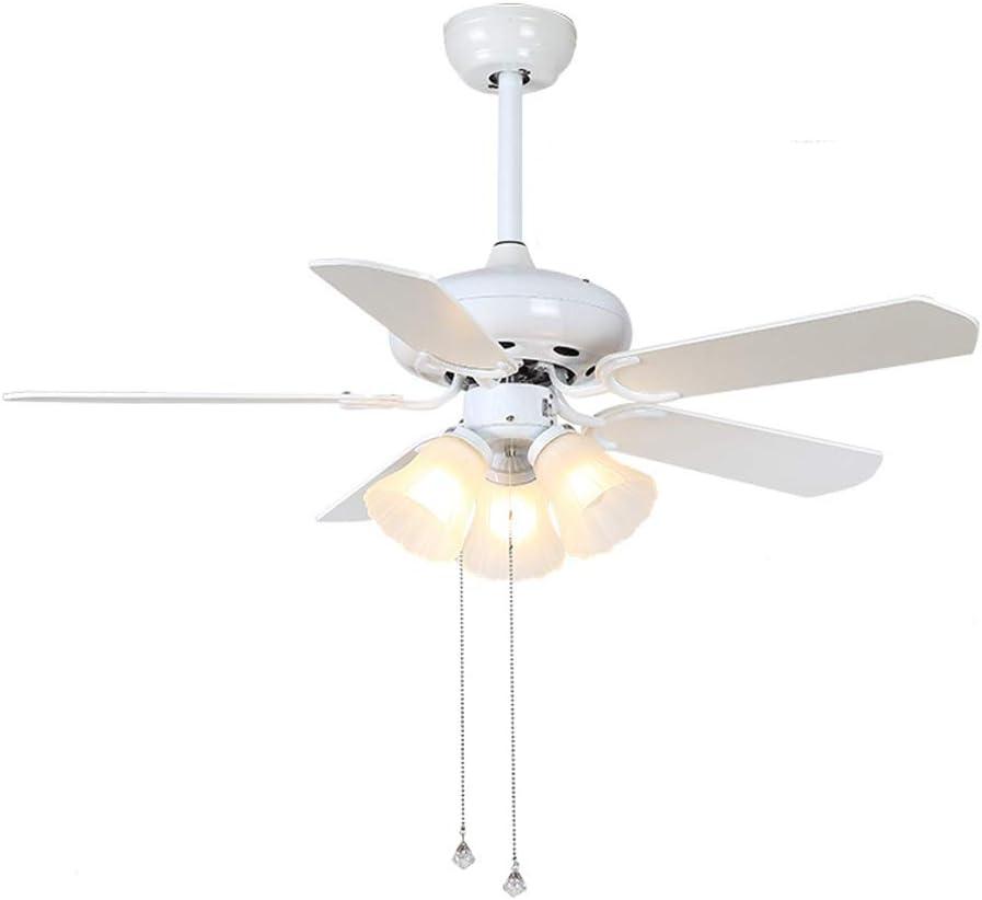 YMGW Ventilador de Techo Blanco, 5 Aspas, 112 cm de Diámetro, Potencia 55 W Ventilador de Techo con Luz LED Ventilador de Techo Dormitorio Lámpara lluminación