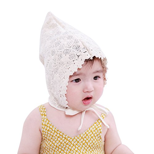 Luxsea 0-6M Girls Lace Hat Kids Cap Newborns Baby Lovely Elven Caps For Cute Toddler Girls -