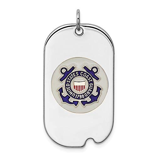 Mireval Sterling Silver Anti-Tarnish Treated US Coast Guard Dog Tag Charm (approximately 34 x 19 mm)