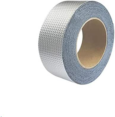 Fan-Ling One Roll Aluminium Foil Tape, WaterProof & UV Resistant Aluminium Foil Tape, Cost-Effective Glass Floor Roof Window Repair Tool,Perfect for HVAC, Duct, Pipe, Insulation and More (D:5cm x 10m)