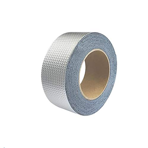 Fan-Ling One Roll Aluminium Foil Tape, WaterProof & UV Resistant Aluminium Foil Tape, Cost-Effective Glass Floor Roof Window Repair Tool,Perfect for HVAC, Duct, Pipe, Insulation and More (D:5cm x 10m) (Rv Grip Tape)