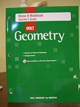 know it notebook teacher s guide for holt geometry holt rh amazon com Holt Geometry Online Holt Geometry Practice