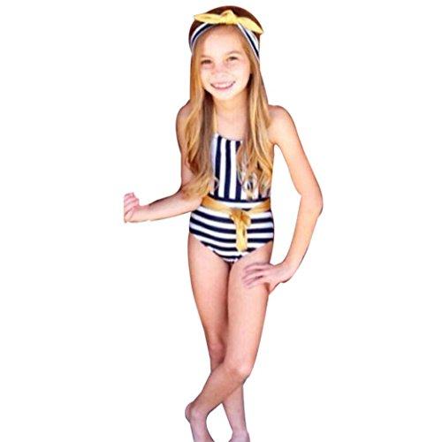 Girls Swimsuit Huhua Toddler Teen Kids Girls Strap Halter Stripe