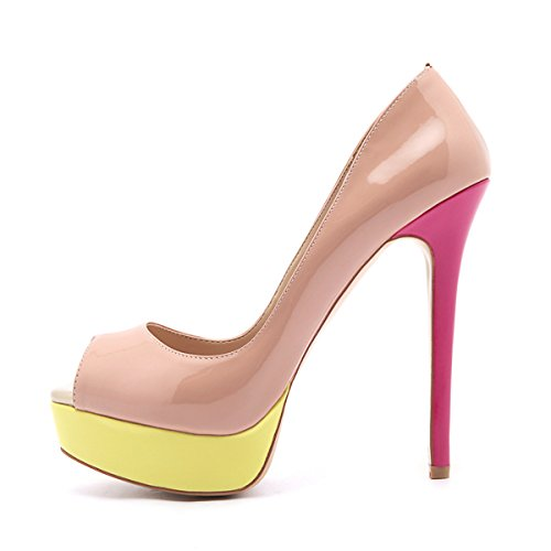 Pumps Stiletto Women's Dress Shoes Multicolor Sexy On Peep onlymaker Wedding High Heels Slip Platform Toe Party zvdS4wFq