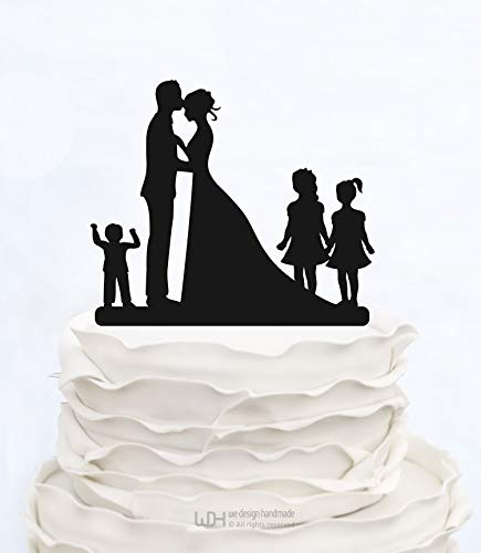 Liz66Ward Family Wedding Cake Toppers Bride and Groom Holding Baby Boy with Two Little Girls,Anniversary Cake Topper